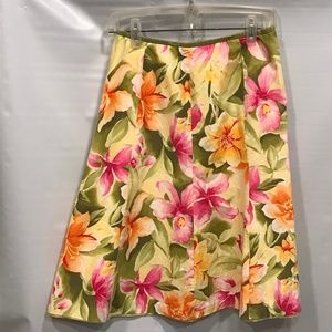 TALBOTS Yellow & Green Floral A-Line Skirt